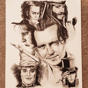Johnny Depp Character Art Poster